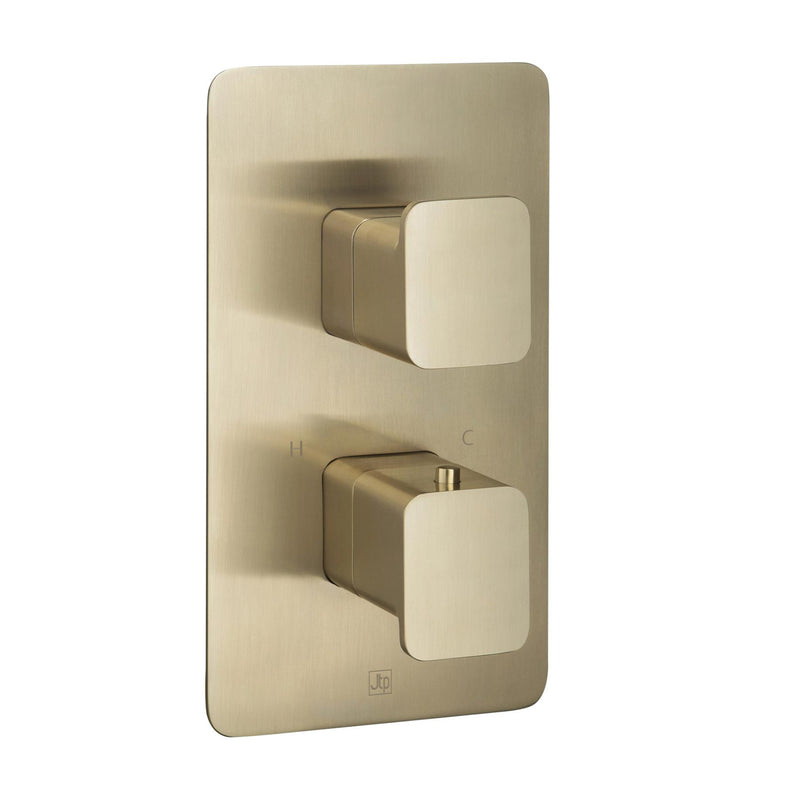 HIX Thermostatic Concealed 2 Outlet Shower Valve Brushed Gold Vertical