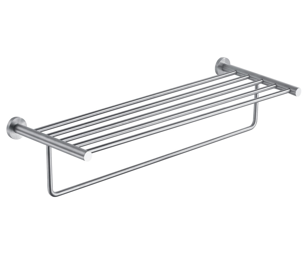 Stainless Steel Wall Mounted Towel Shelf & Rail - 626mm | tapron.co.uk