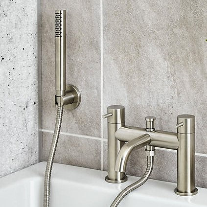 Inox Brushed Stainless Steel Deck Mounted Bath Shower Mixer With Shower Kit [IX275]