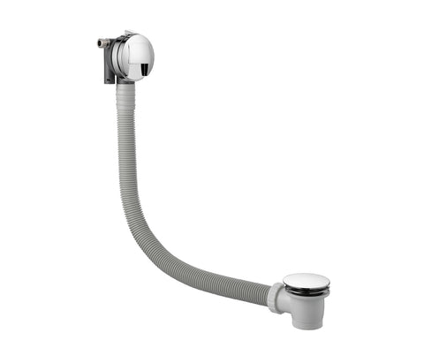 Inox Brushed Stainless Steel Finished Overflow Bath Filler with Pop-Up Waste [IX809A7]