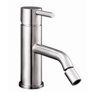 Inox Brushed Stainless Steel Single Lever Bidet Mixer and Pop-up Waste