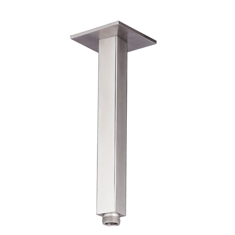 Inox Brushed Stainless Steel Square Ceiling Shower Arm - 200mm [IX2015]