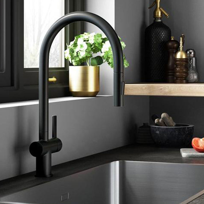 Modern Single Lever Monobloc Matt Black Kitchen Tap with High-arch Swivel Spout featuring Pull Out Retractable Nozzle and Dual Function Spray [28127MB]