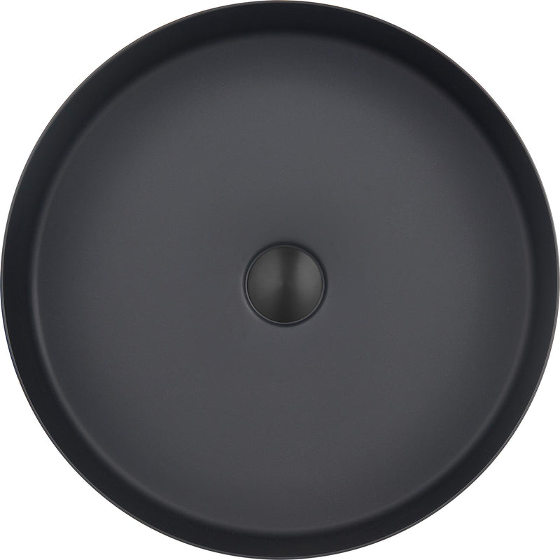 Matt Black Round Small Countertop Basin 120mm height and 406mm width from Tapron
