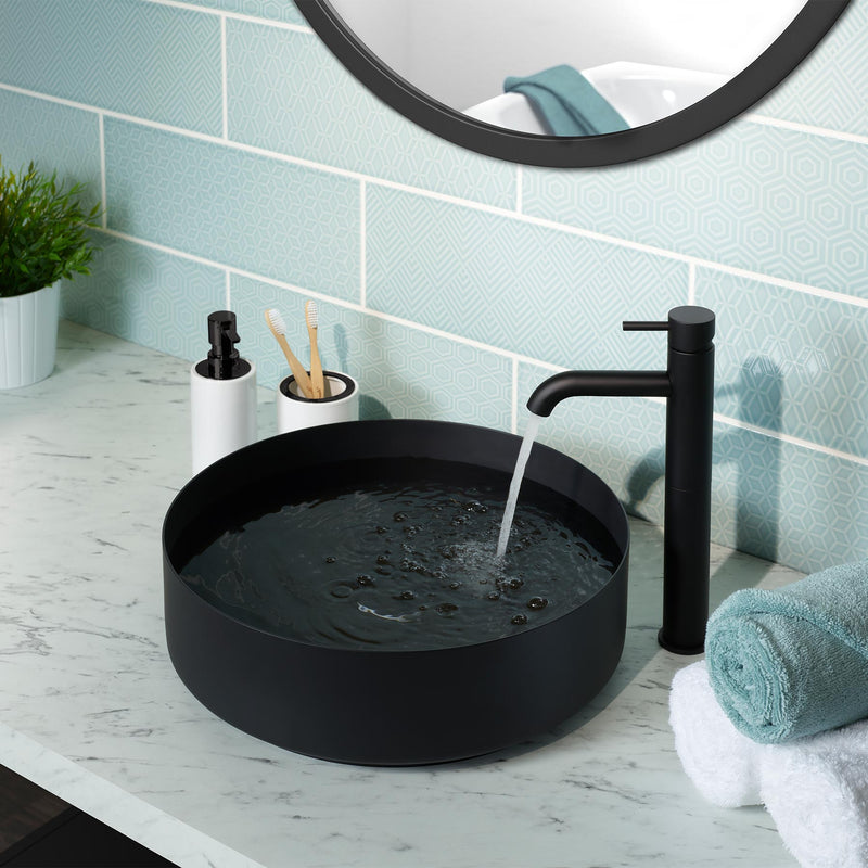 Round matt black countertop basin made of 316 stainless steel,120mm height and 406mm width, with matching single lever tall basin mixer sold separately code 28009AMB