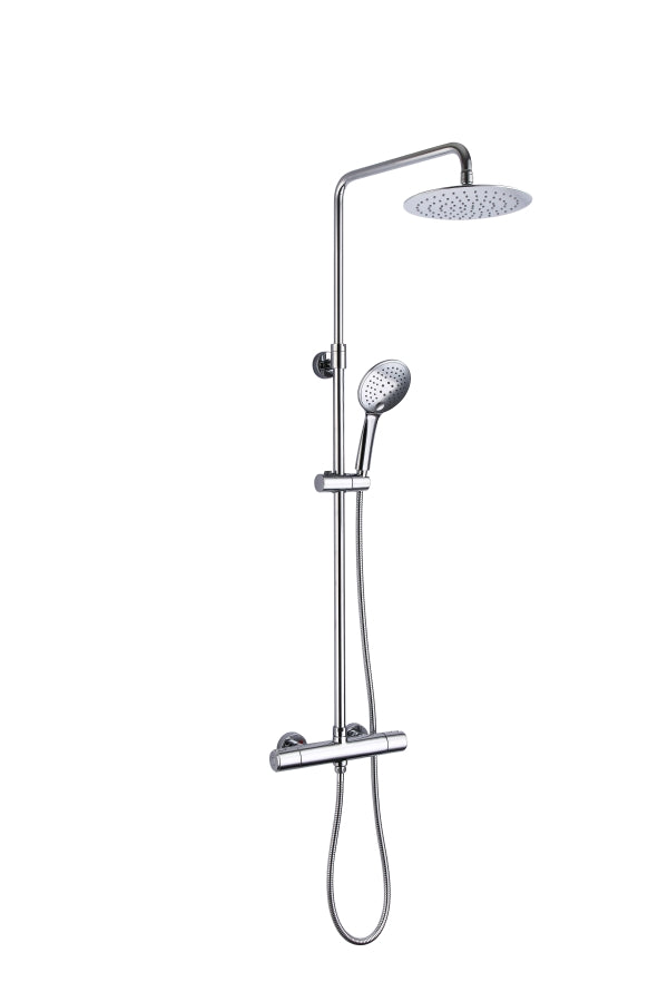 Constructed using Sturdy Brass, Thermostatic Shower Riser with 2 Outlets, Adjustable Riser coupled with Cool Touch Function in Chrome Finish, HP1 [9081]