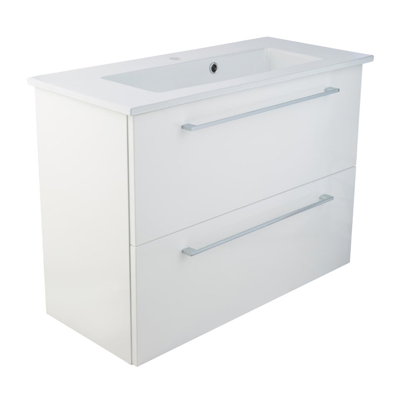 White wall mounted vanity unit with 2 deep drawers and white basin a stylish soft closing mechanism and polished chrome handles with a white finish of the drawers