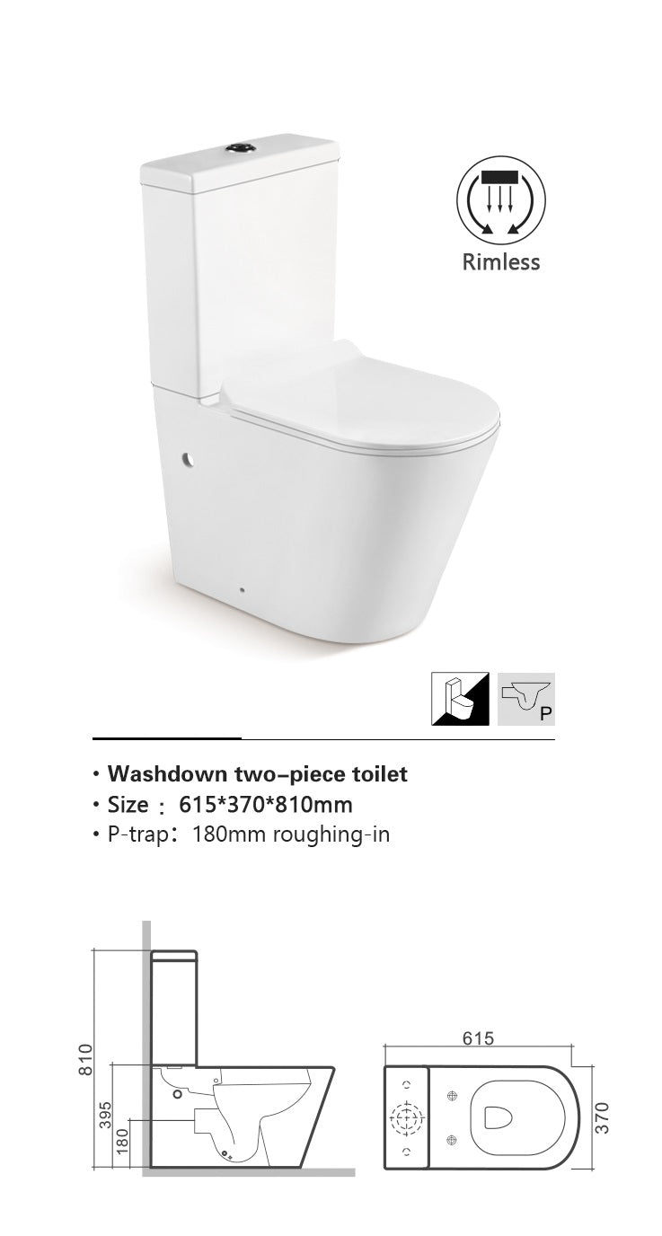 Close Coupled WC Pan with Soft Close UF Seat Cover