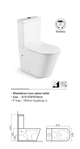 Close Coupled WC Pan with Soft Close UF Seat Cover [TRRC110]