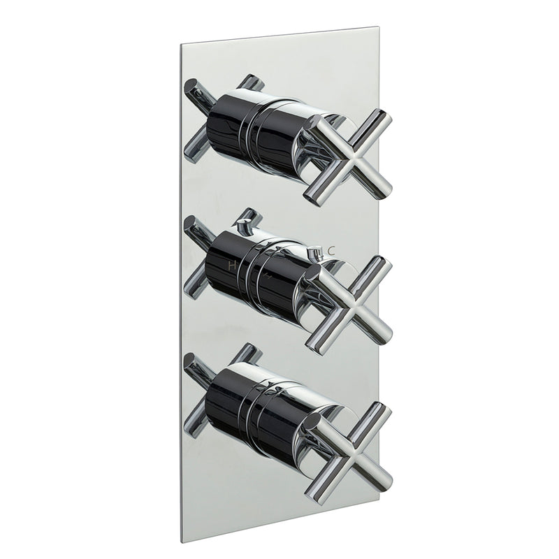 Solex Thermostatic Concealed 3 Outlet Shower Valve, Vertical