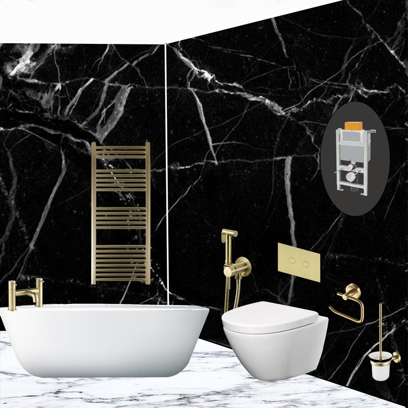 VOS-Gold-Radiator-with-VOS-Gold-Bridge-Deck-Mounted-Bath-Filler-and-VOS-Gold-Douche-Kit-and-VOS-Gold-Accessories-Installed-in-a-Bathroom