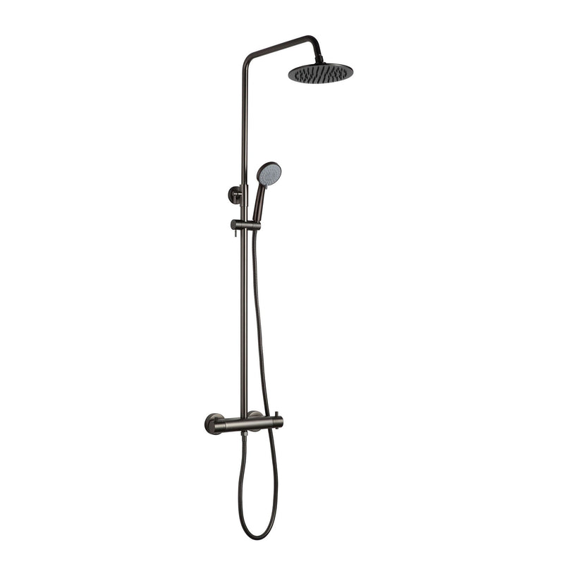 Chic VOS Thermostatic Black Shower Riser Kit with 2 Outlets, Multi-Function Handset, Adjustable Riser and Shower Kit, HP 1, Height 215mm x Width 12mm x Depth 140mm [2852819MB]