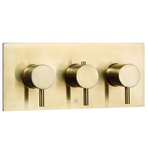 Two Outlet Thermostatic Concealed Shower Valve Brushed Gold - Horizontal [23693ABBR]