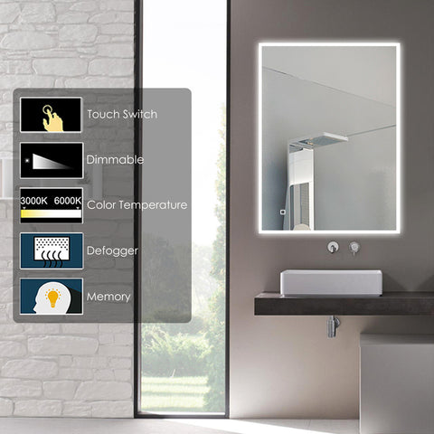 Potrait/Landscape Colour Temperature control Neon LED Mirror [TRNO400]