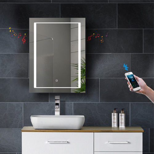 Single Door LED Mirror Cabinet with Bluetooth Speaker | tapron.co.uk