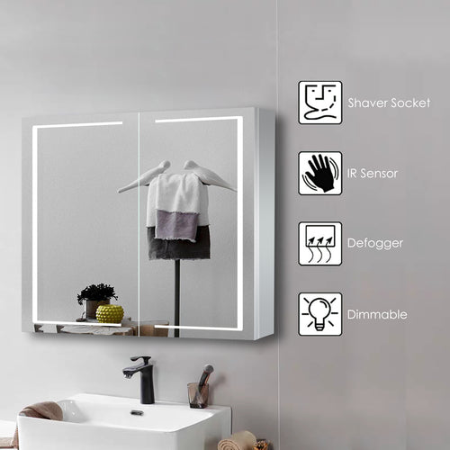 Led Mirror Cabinet Double Door with Bluetooth