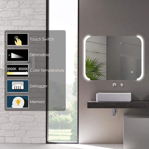 LED Dimmable Silver Mirror