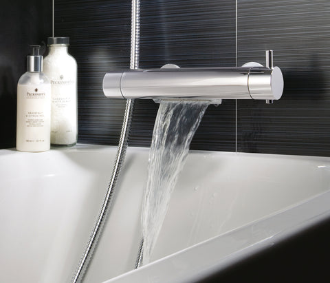 Round Thermostatic Bath ad Shower Mixer Deck Mounted with Cascade Spout Function, HP 1 [56569D/M]