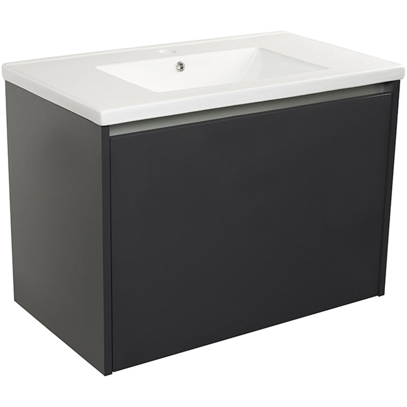 city-800-anthracite large vanity unit with porcelain basin, 2 large drawers and internal lighting