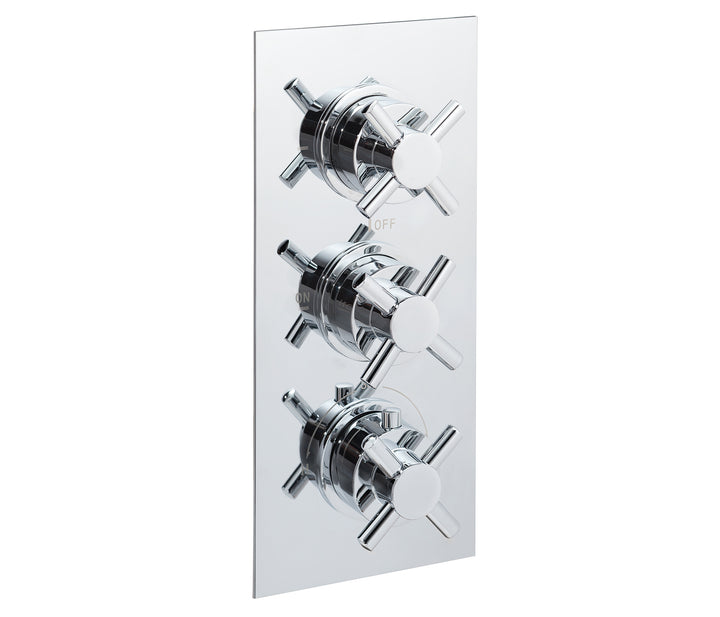Cross thermostatic concealed 3 outlet shower valve, LP 0.2 - Tapron