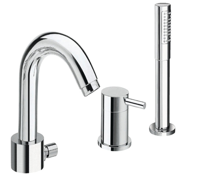Florentine 3 hole single lever bath and shower mixer with extractable shower hose, HP 1 - Tapron