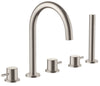 Inox Brushed Stainless Steel  5 Hole Bath Shower Mixer with Extractable Hand Shower [IX277A]