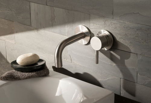 Stainless Steel Wall Mounted Single Lever Basin Mixer | tapron.co.uk