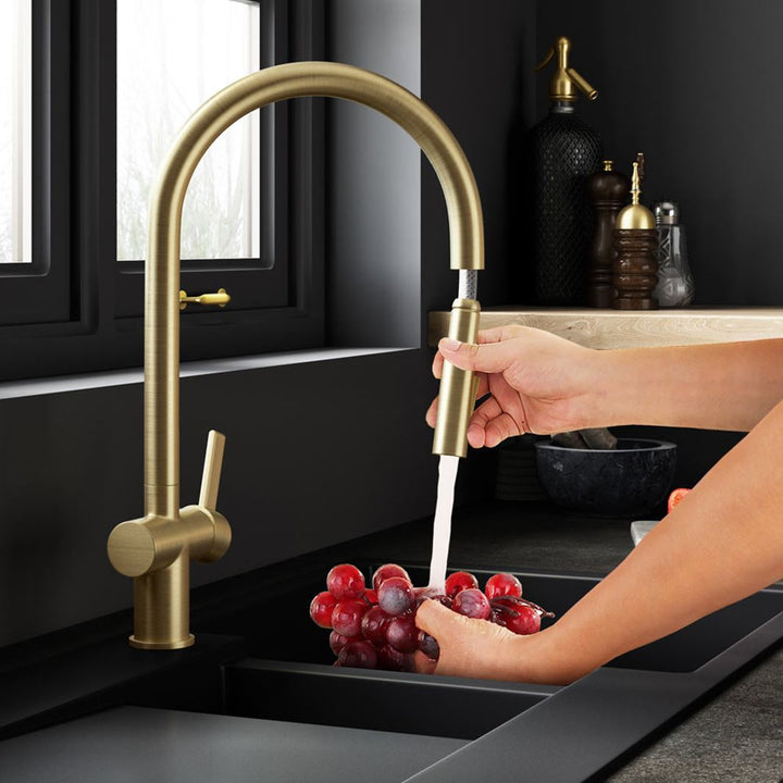 Brushed Gold Single Lever Pull Out Sink Mixer | Sink Mixer | tapron