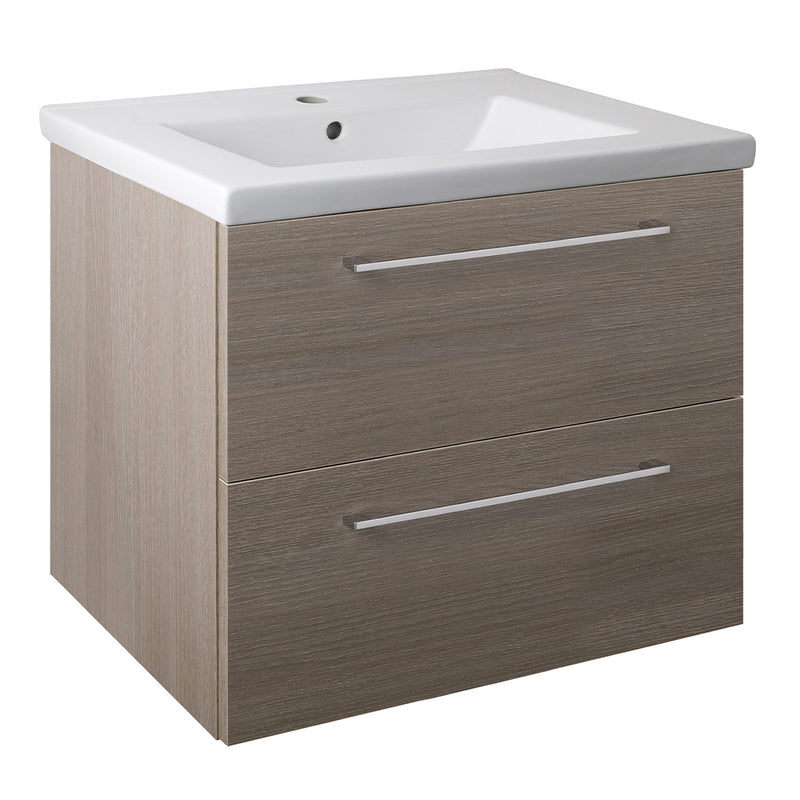 Grey bathroom vanity unit with basin and 2 drawers from Tapron