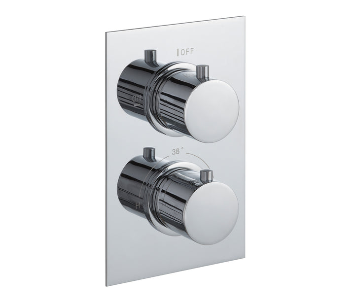 Round thermostatic concealed 2 outlet shower valve, LP 0.2 [JTTHERMO2P]