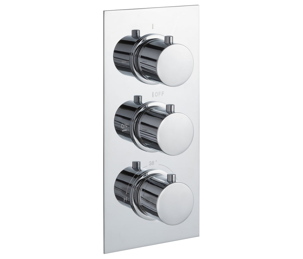 Round thermostatic concealed 3 outlet shower valve, LP 0.2 [JTTHERMO4P]