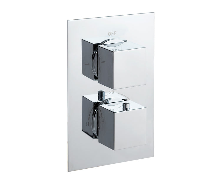 Square thermostatic concealed 2 outlet shower valve, LP 0.2 [JTTHERMO6P]