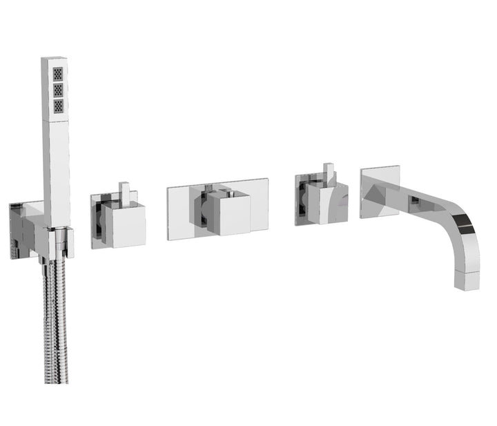 Thermostatic 5-Hole Wall Mounted Bath Shower Mixer 36572