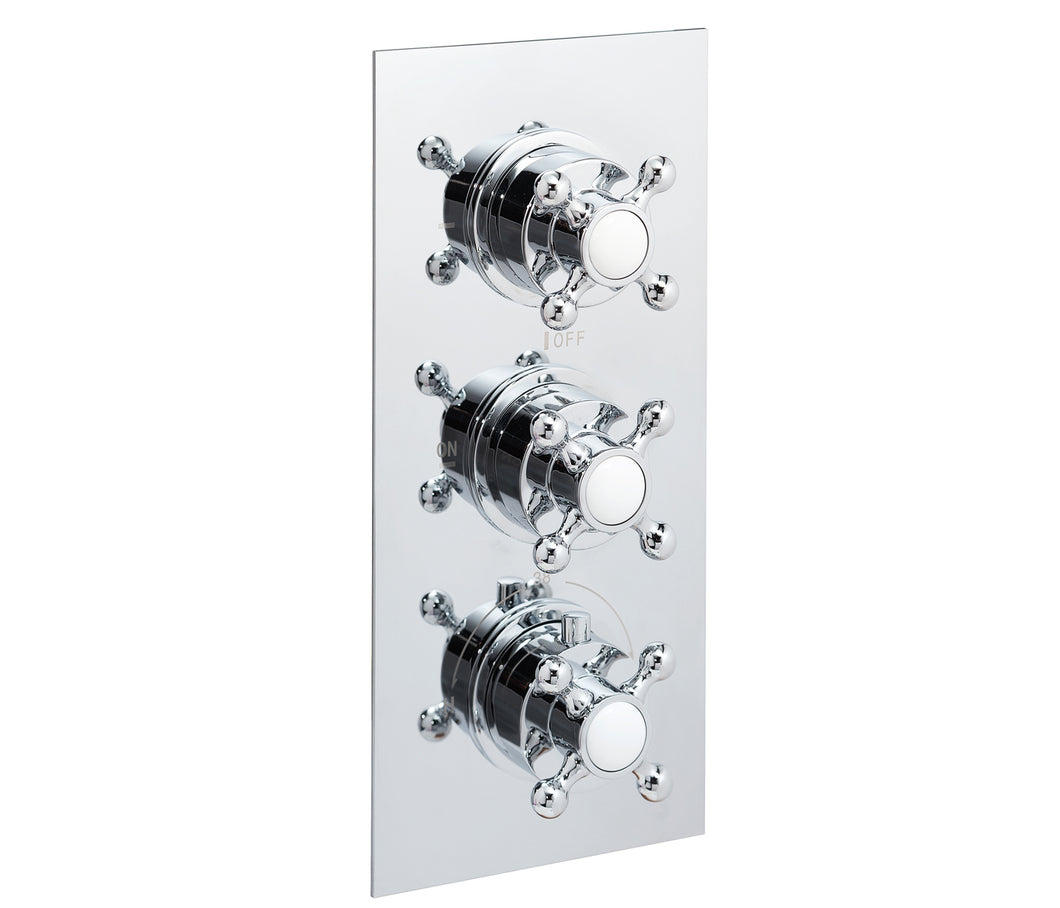 Victorian thermostatic concealed 3 outlet shower valve, LP 0.2