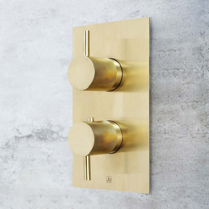Two Outlet Thermostatic Concealed Shower Valve Brushed Gold Designer Handle - Vertical [DH23671ABBR]