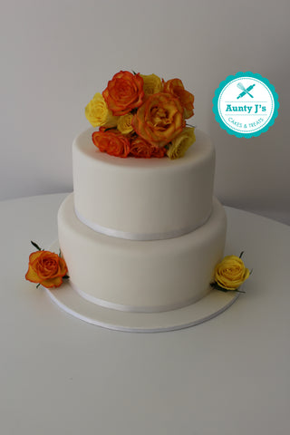 Classic White Wedding Cake with Burnt Orange Roses