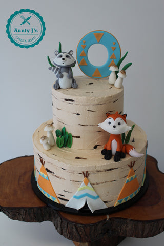 Woodland Theme Buttercream Cake