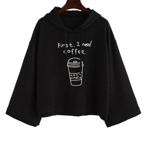 Woman's Black Crop-Top First I need Coffee