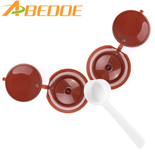 ABEDOE 2Pcs Refillable Dolce Gusto Coffee Capsules Reusable Coffee Filter With 1Pcs Coffee Spoon