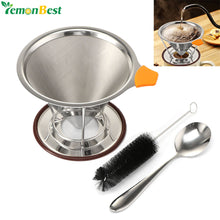 Double-deck Mesh Coffee Filter 304 Stainless Steel Filter with Stand Holder/Spoon/Brush (Fit for 2-4 cups) Coffee Tea Tools