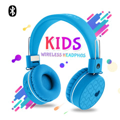 WKD80 Kids Wireless Bluetooth Foldable Stereo Headphones Blue