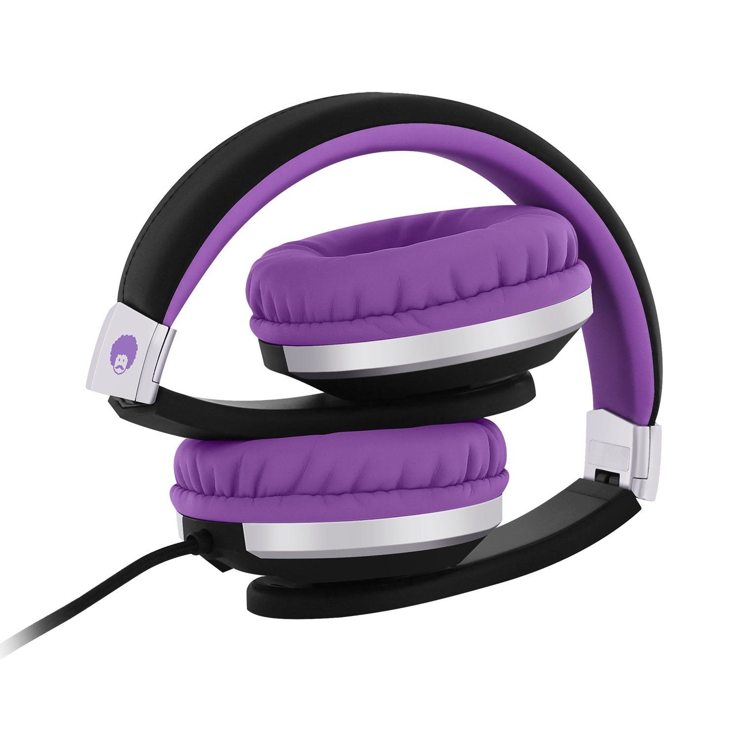I20 Kids Foldable School Stereo Headphones Purple Black