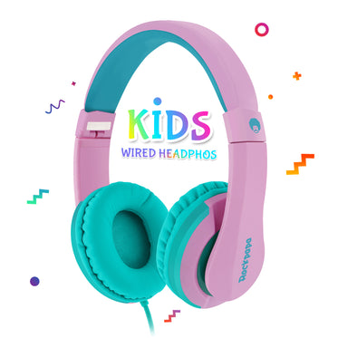 I20 Kids Foldable School Stereo Headphones Pink Green