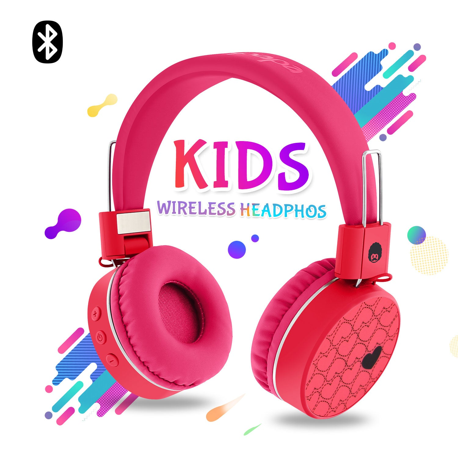 WKD80 Kids Wireless Bluetooth Foldable Stereo Headphones Pink