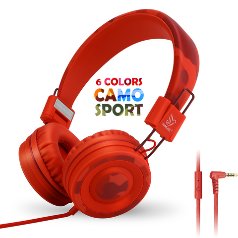 YOMUSE C89 CAMO SPORT HEADPHONES - RED
