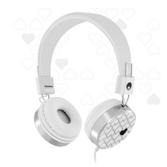 878 Love Heart Candy Headphones White
