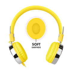 878 Love Heart Candy Headphones Yellow