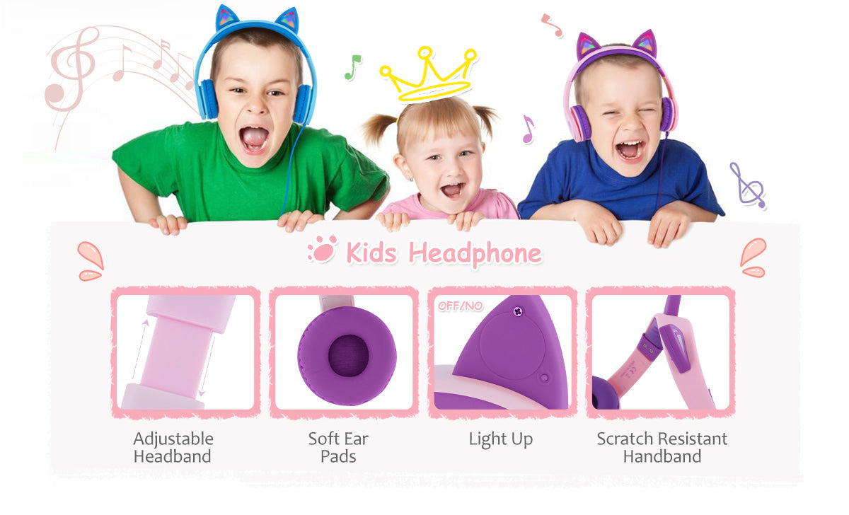 rockpapa kids cute headphones