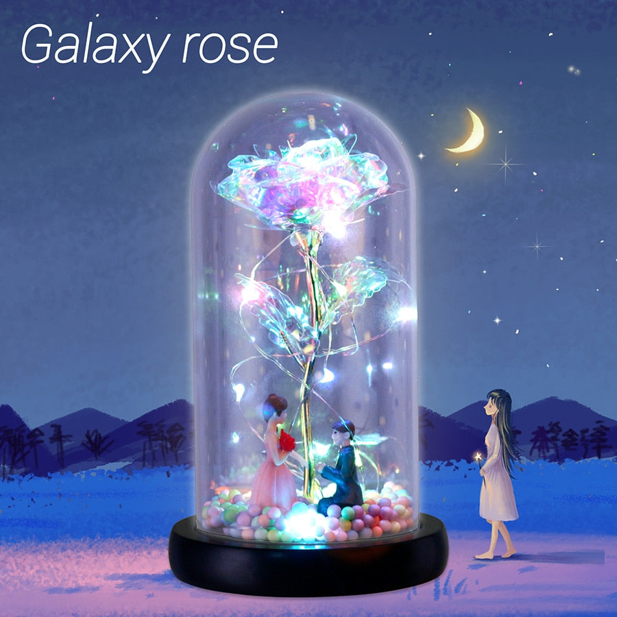 2020 New Wishing Girl Galaxy Rose In Flask LED Flashing Flowers In Glass Dome for Wedding Decoration Valentine's Day Gift - Gauxvestandbeyond by Maddy