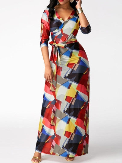 Color Block Half Sleeve Women's Maxi Dress - Gauxvestandbeyond by Maddy